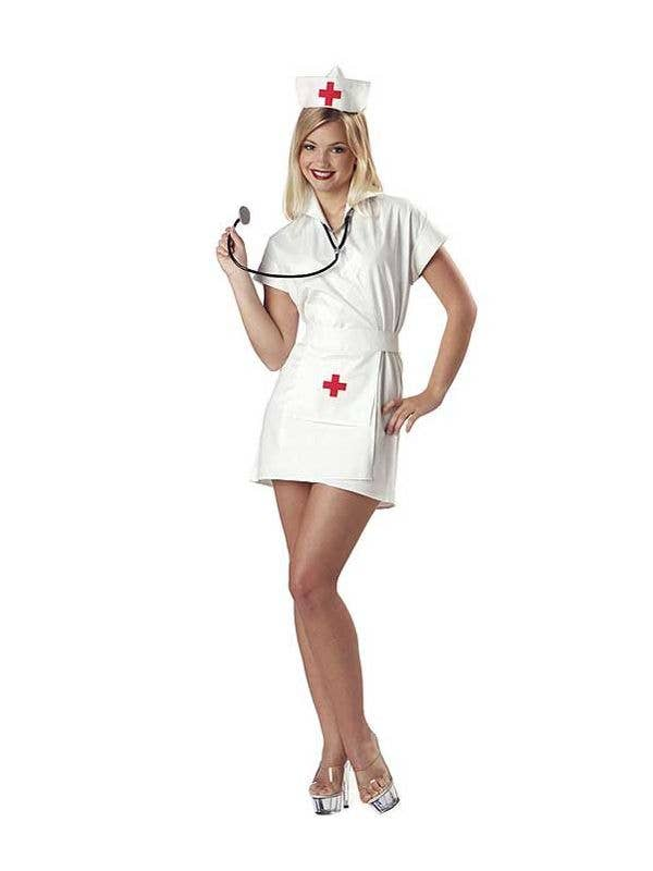 Women's White And Red Sexy Nurse Outfit Fancy Dress Costume Main Image