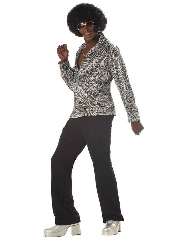 1970's Groovy Disco Shirt for Men including Wig