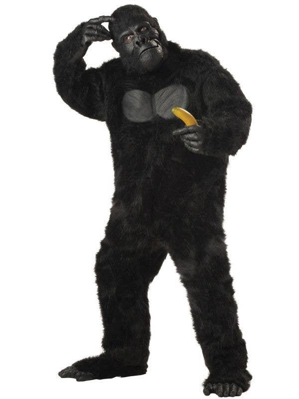 Plus Size Black Fur Gorilla Suit Adult's Costume Main Image