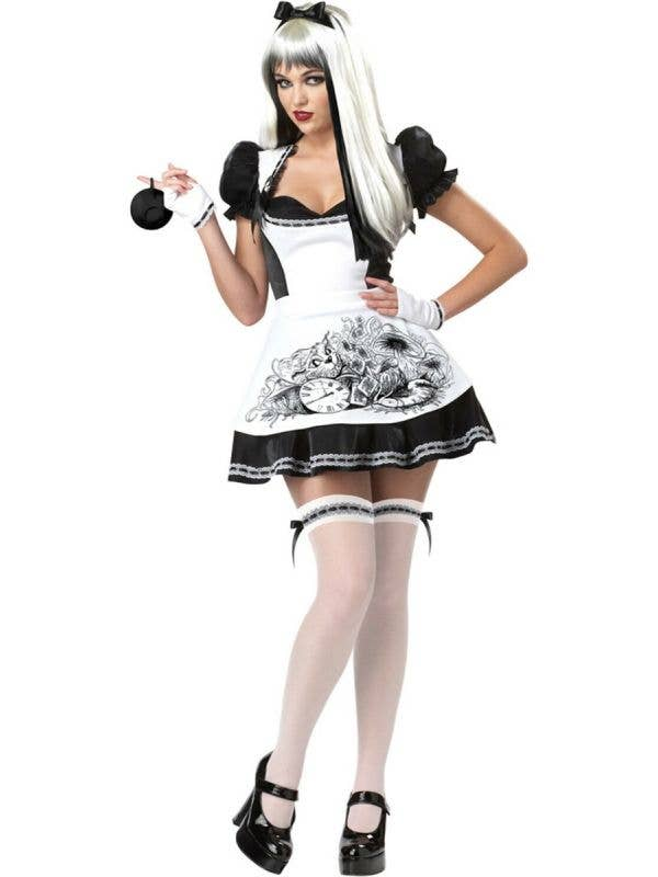 Womens Dark Alice Black And White Spooky Fancy Dress Halloween Costume Front