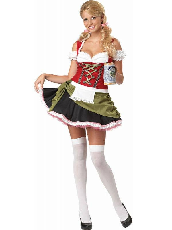 Womens Bavarian Bar Maid Fancy Dress Costume Front