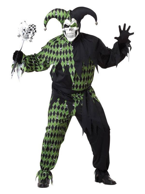 Men's Black and Green Jester Hallowen Fancy Dress Costume - Image 1