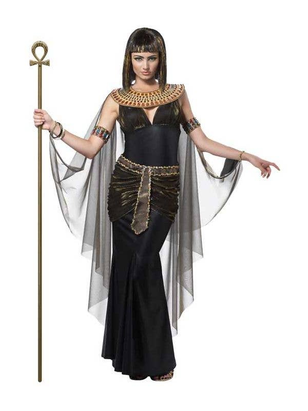 Queen Cleopatra Women's Egyptian Costume Black Toga Fancy Dress Front Image
