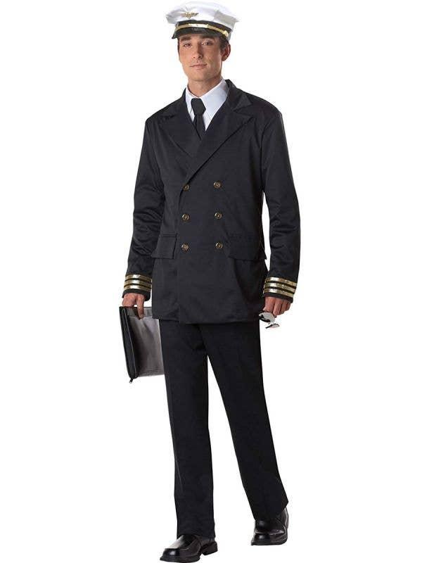 Men's Black Airline Captain Uniform Fancy Dress Costume Main Image