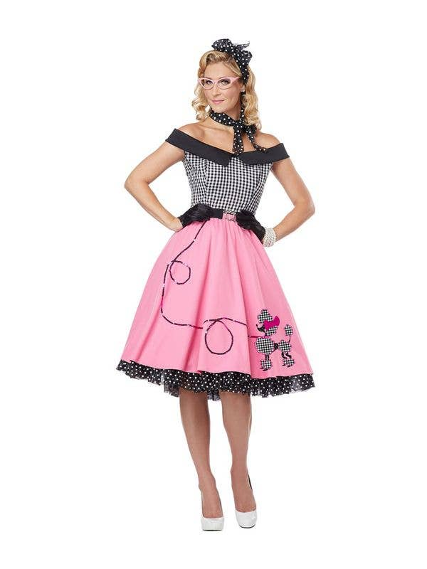 Women's 50's Pink Poodle Skirt Fancy Dress Front View