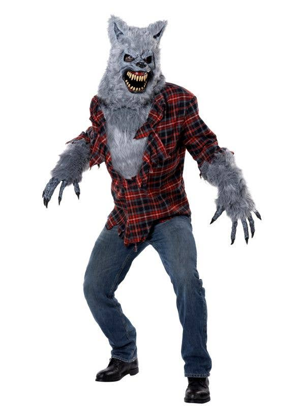 Men's Deluxe Grey Lycan Werewolf Halloween Fancy Dress Costume Main Image