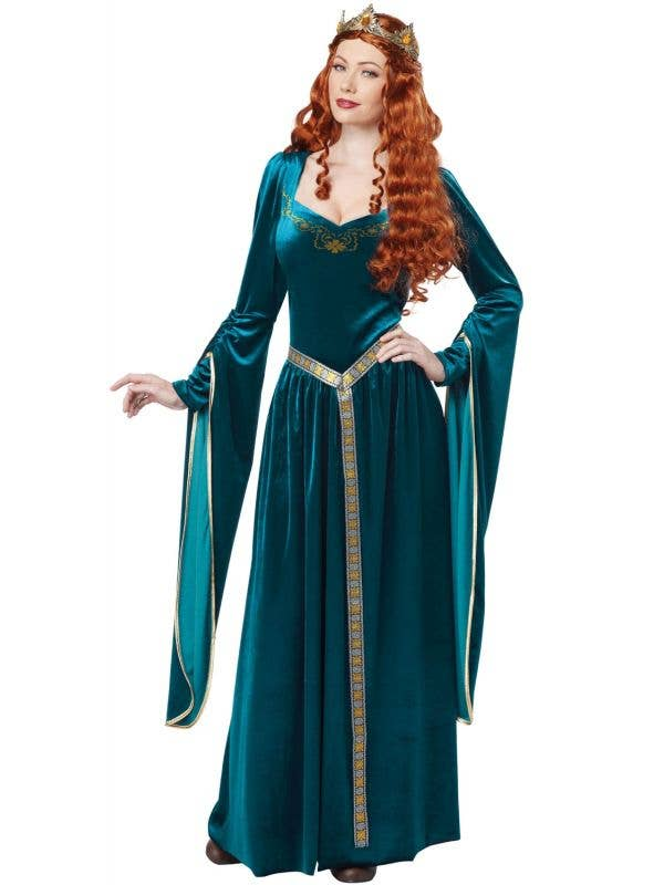 Lady Guinevere Women's Long Blue Medieval Costume Main Image