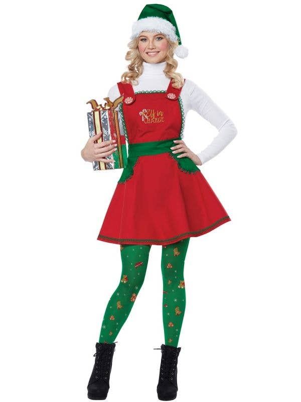 Santa's Elf Costume Womens Elf In Charge Christmas Party Dress Outfit