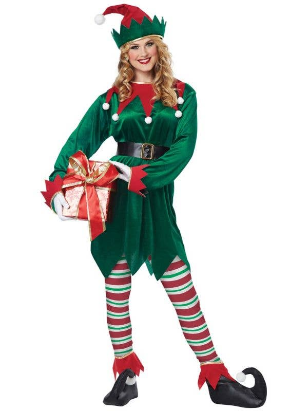 Red and Green Elf Christmas Costume for Adults Women's Image