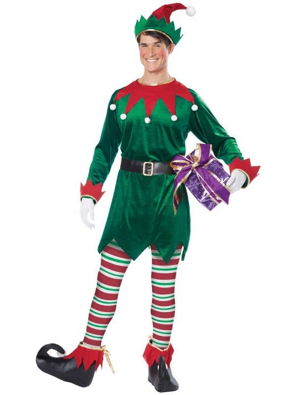Red and Green Elf Christmas Costume for Adults Men's Image