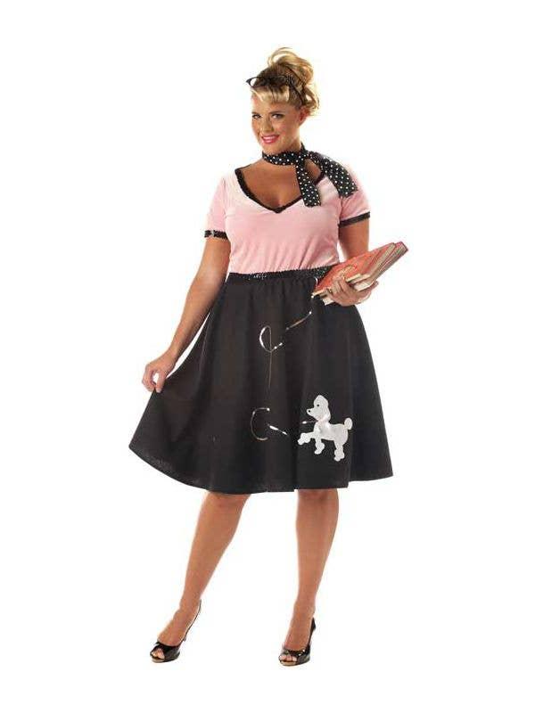 Plus Size Women's Black Poodle Skirt 50's Costume Front