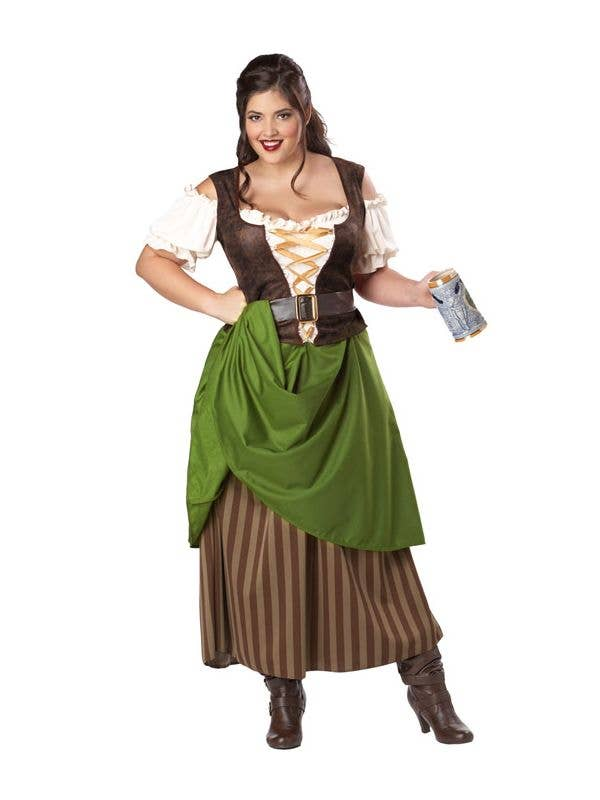 Women's Long Tavern Maiden Plus Size Fancy Dress Costume Main Image