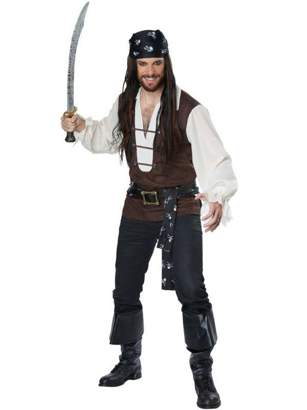 Men's High Seas Adventurer Plus Size Pirate Fancy Dress Costume Main Image