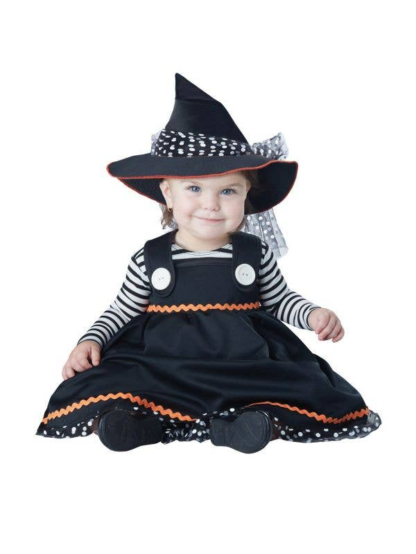 Infant Girl's Crafty Black and White Witch Halloween Costume View 1