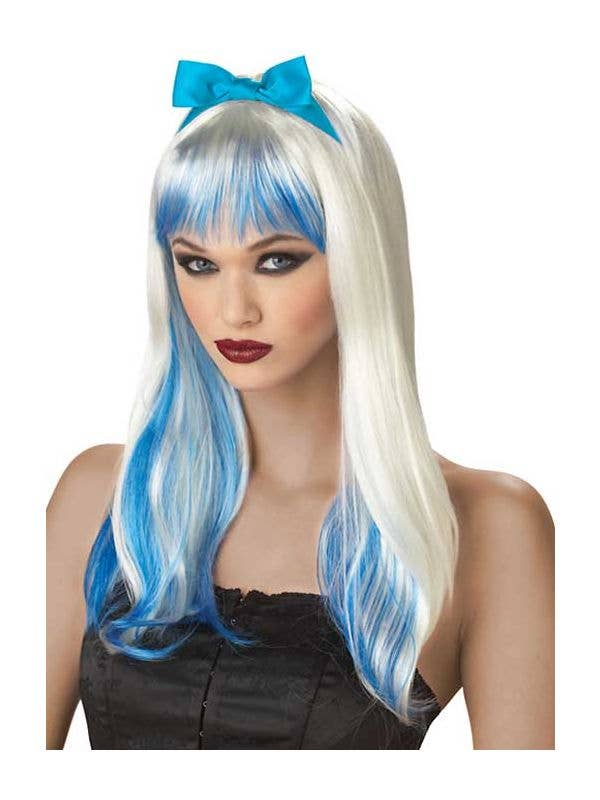Blue and White Alice Cosplay Costume Wig  22915def35