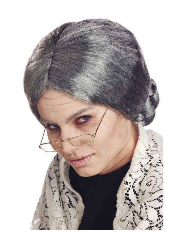 Women s Old Grandma Grey Costume Wig fa41183abf