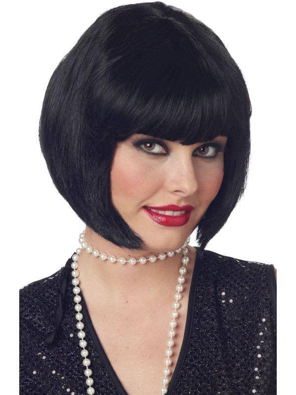 Black Bob Flapper Great Gatsby Costume Wig - Main  Image