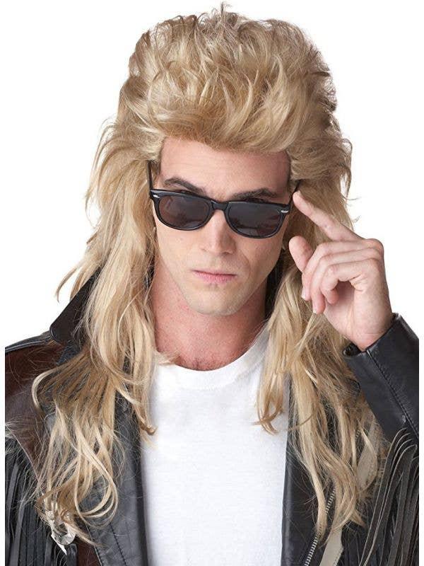 Rock Mullet Men's Long Blonde 80's Bogan Costume Wig Front View