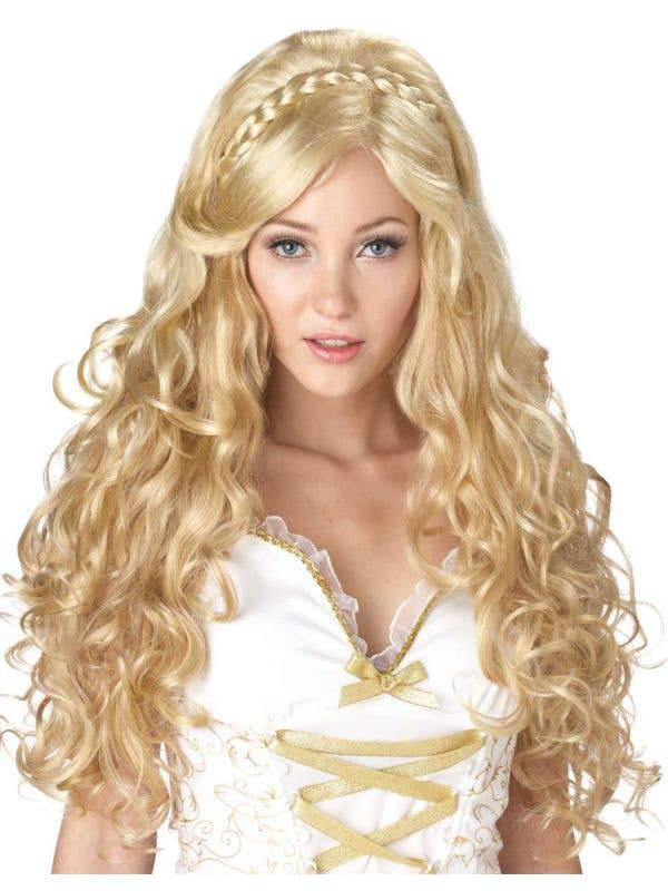 Women's Long Blonde Curly Costume Wig Main Image