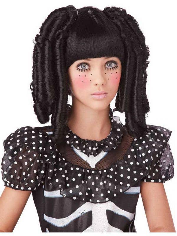 Kids Black Ringlet Curls Doll Halloween Wig