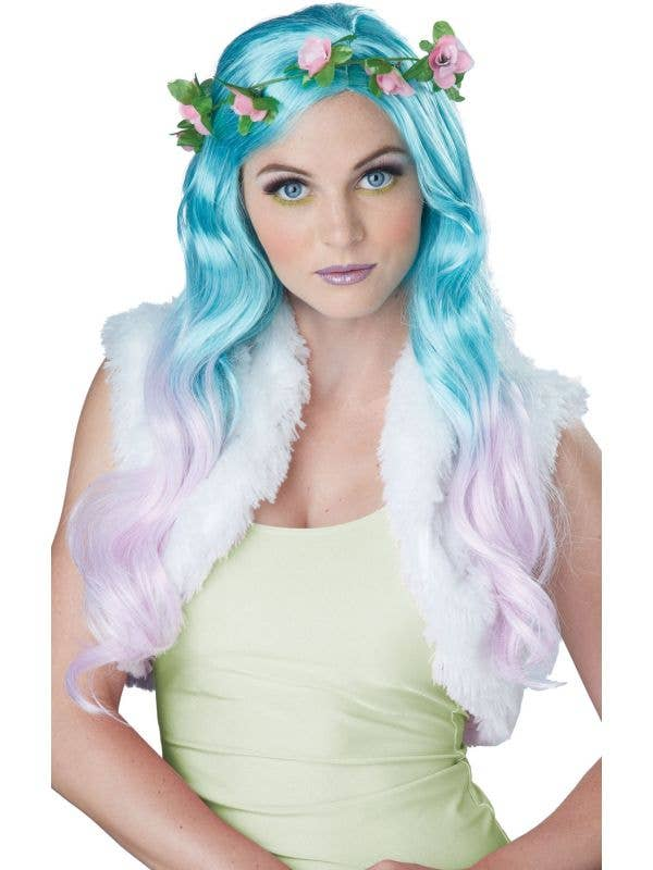 Pastel Blue And Pink Ombre Wig With Flower Crown Image 1