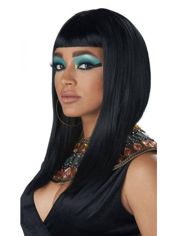 Egyptian Women's Cleopatra Angular Convave Black Bob Costume Accessory Wig View 1