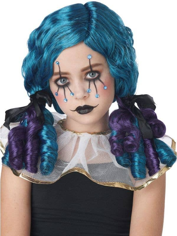 Girl's Curly Blue and Purple Clown Doll Pigtails Costume Wig Main Image
