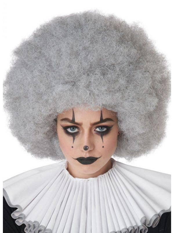 Adult's Jumbo Silver Grey Clown Afro Costume Accessory Wig Main Image