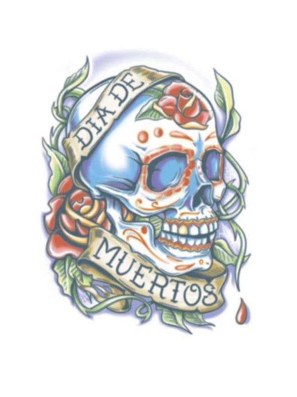 0997022536318 Sugar Skull Day Of The Dead Tattoo | Sugar Skull Temporary Tattoo