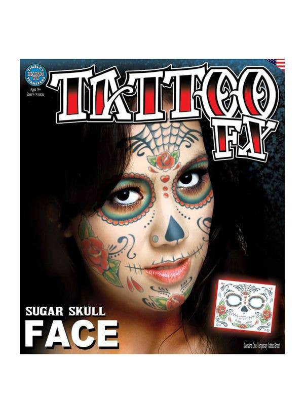 Women's Sugar Skull Temporary Face Tattoo Makeup Main Image