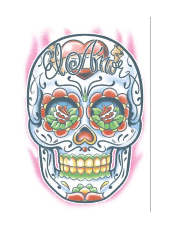 Day Of The Dead Sugar Skull Temporary Tattoo