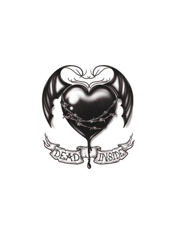 Black Heart Dead Inside Halloween Gothic Temporary Body Tattoo Transfers Main Image