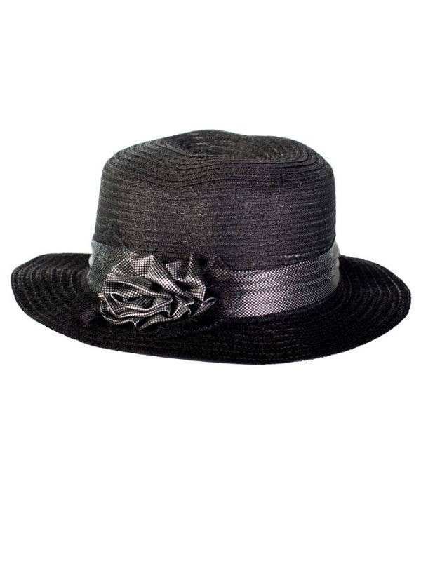 Black 1950's Costume Hat Front View
