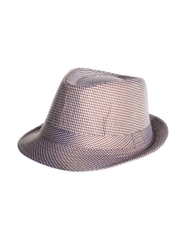 a84c773dbbc24 Deluxe Brown   White Houndstooth Fedora Hat