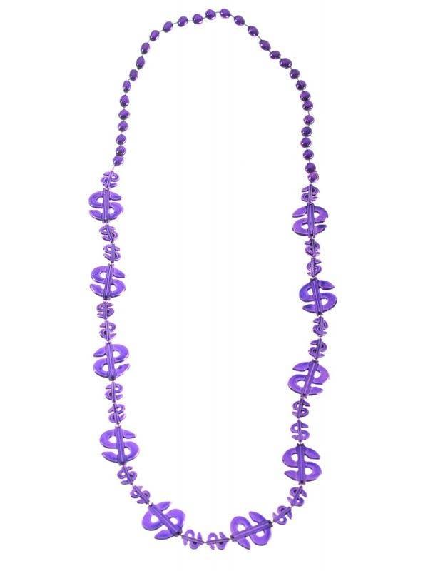 Purple Metallic Look Dollar Signs Beaded Necklace Main Image