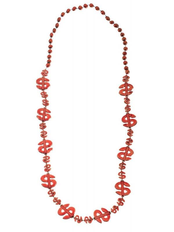 Red Metallic Look Dollar Signs Beaded Necklace Main Image