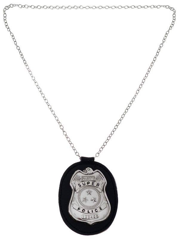 Metal Police Detective Badge On Silver Chain Costume Accessory - Main Image