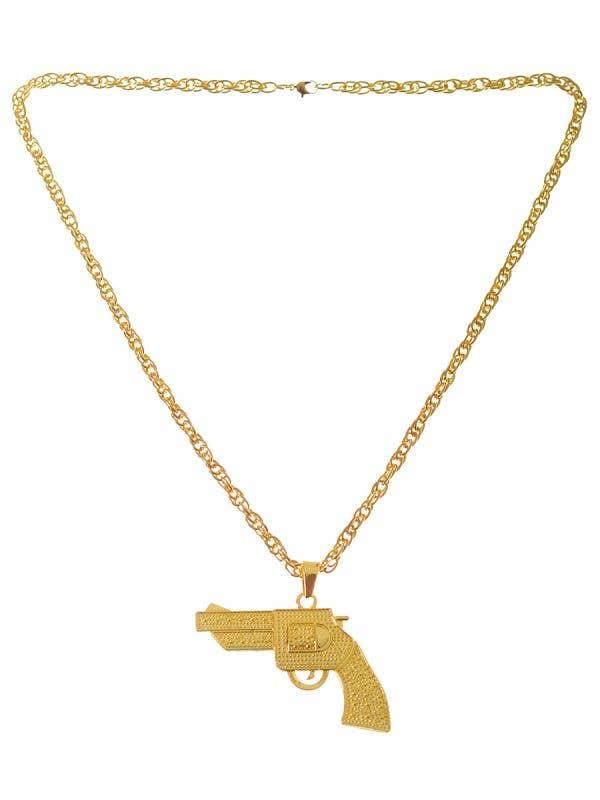 Golden Gun Deluxe Pendant Gangster Costume Jewellery