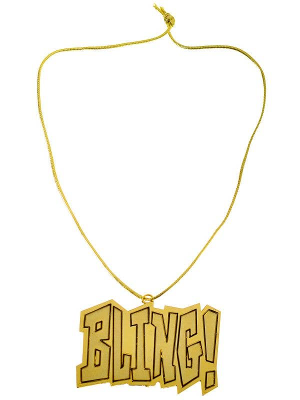 Large Gold Bling Pendant Necklace Rapper Costume Accessory