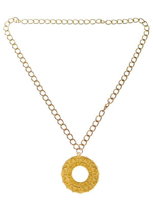 Ancient Greek Gold Medallion Costume Necklace - Main Image