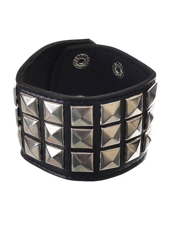 Punk Silver Square Studded Wrist Cuff On Black Leather Band Costume Accessory - Main Image