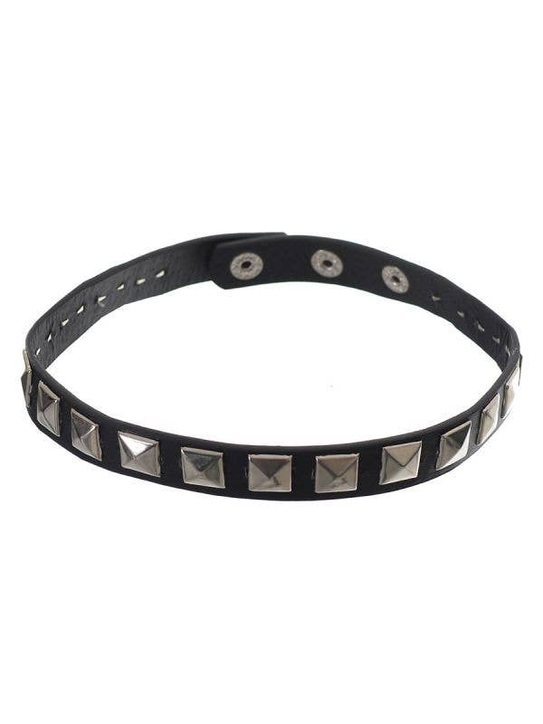 Punk Black Leather Look Choker with Silver Square Studs Costume Accessory - Main Image