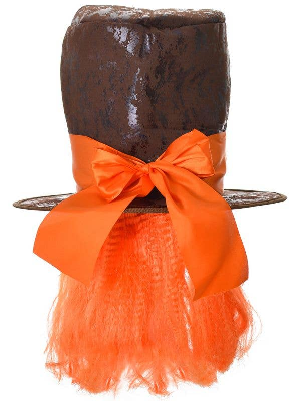 Brown Leather Look Mad Hatters Hat With Attached Orange Hair and Large Bow Costume Accessory