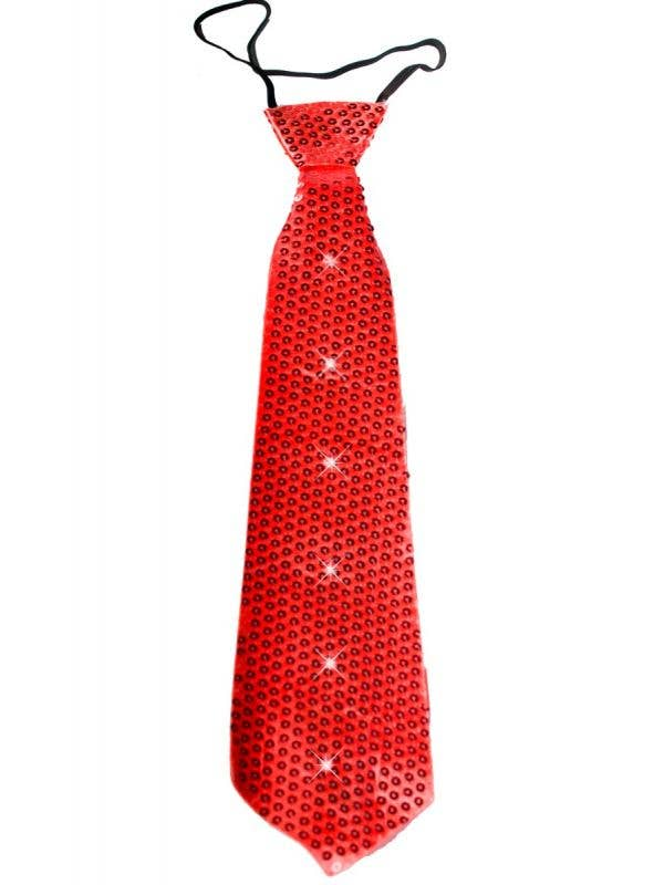 Adults Red Sequined Flashing Novelty Light Up Christmas Tie