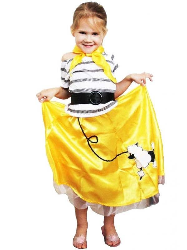 Yellow 1950's Girls Poodle Skirt Costume Front View