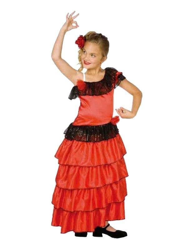a36b8e60a262 Girl's Spanish Fancy Dress Costume | Flamenco Dancer Girl's Costume