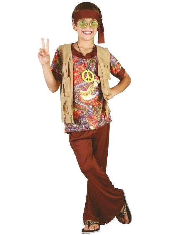 2dabc95e2cc Boys Hippie Fancy Dress Retro Costume Front View
