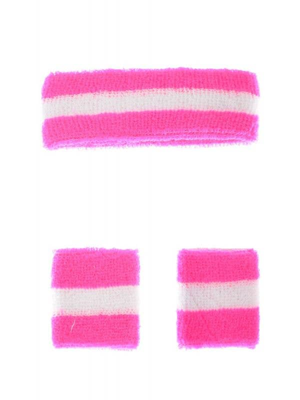 Neon Pink and White Tennis 1980's Sweat Band Set