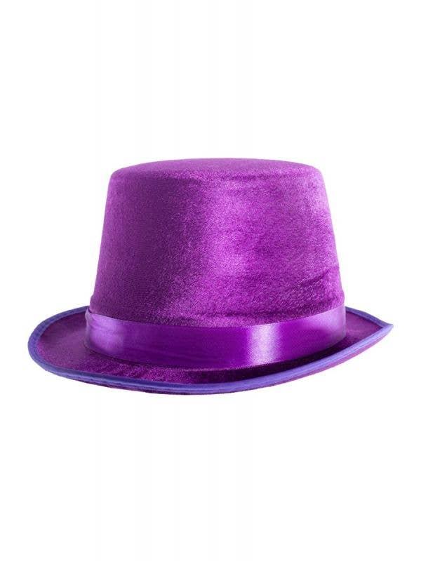 Purple Velvet Unisex Adults Pimp Top Hat Costume Accessory - Main Image