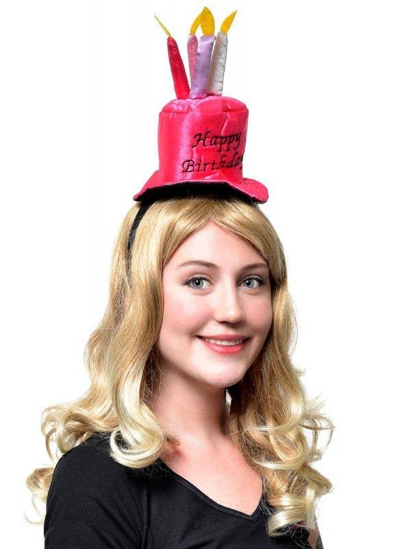 Shiny Pink Women-s Happy Birthday Hat Costume Accessory Main Image